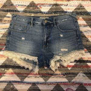 Free People Crochet Lace Trim Denim Cutoff Shorts